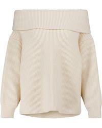 Alaïa Jersey de lana y cachemir sin hombros - Blanco