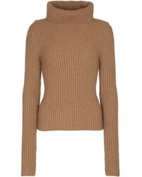 Saint Laurent Ribbed-knit Wool Turtleneck Jumper - Natural