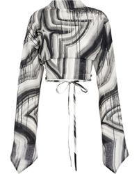 Acne Studios Printed Linen Blouse - Black