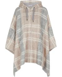 Brunello Cucinelli Checked Wool-blend Poncho - Natural