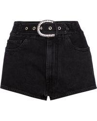 Alessandra Rich Short en jean à taille haute et ornements - Noir