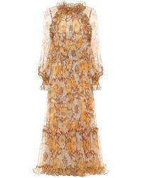 Zimmermann Vestido largo Super Eight de seda - Naranja
