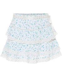 LoveShackFancy Bara Floral Cotton Miniskirt - White