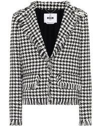 MSGM Houndstooth Tweed Blazer - Black