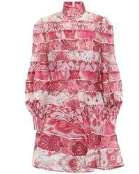 Zimmermann Wavelength Spliced Mini Dress - Pink