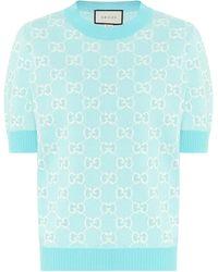 Gucci Pullover GG aus Wolle und Baumwolle - Blau