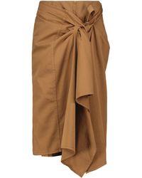 Dries Van Noten Falda midi de algodón con nudo - Marrón