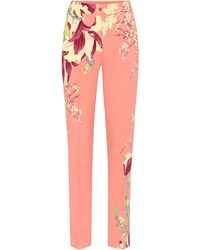 Etro High-rise Straight Crêpe Trousers - Pink