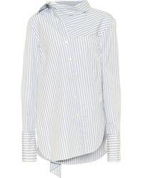 Monse Tie-neck Striped Cotton Shirt - White