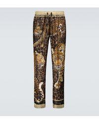 Dolce & Gabbana Leopard Printed Pyjama Trousers - Brown