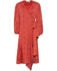 Chloé Floral Jacquard Wrap Dress - Red