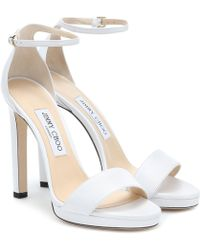 Jimmy Choo Misty 120 Leather Sandals - White
