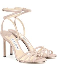 Jimmy Choo Sandalen Mimi 100 aus Veloursleder - Pink