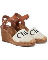 Chloé Woody Canvas Espadrille Wedges - White