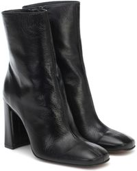 BY FAR Elliot Embossed Leather Ankle Boots - Black