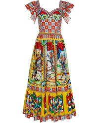 Dolce & Gabbana Robe midi imprimée en coton mélangé - Multicolore