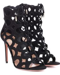 Aquazzura - Cutout Suede Begum Open Toe Lace Up Booties - Lyst