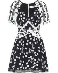 Self-Portrait Floral Minidress - Black