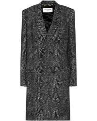 Saint Laurent Double Breasted Coat In Wool - Black
