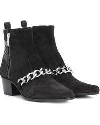 Balmain Ankle Boots Ella aus Veloursleder - Schwarz