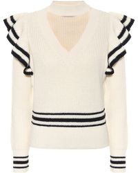 Self-Portrait Cotton And Wool Sweater - Natural
