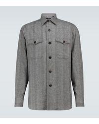 Lardini Hemdjacke aus einem Wollgemisch - Grau