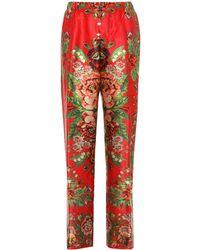 F.R.S For Restless Sleepers Bedruckte Pyjama-Hose Etere aus Seide - Rot