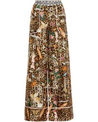 Camilla Pantaloni a stampa in seta con cristalli - Multicolore