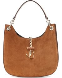Jimmy Choo Varenne Hobo Medium Suede Shoulder Bag - Brown