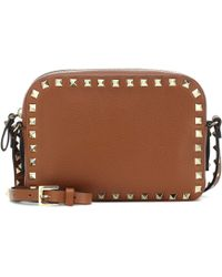Valentino Rockstud Leather Crossbody Bag - Brown