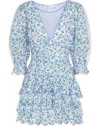 LoveShackFancy Vestido corto Marquise de algodón floral - Azul