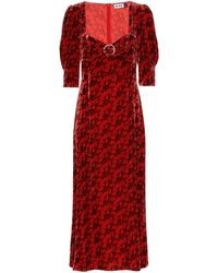 RIXO London Robe midi Karen en velours à fleurs - Rouge