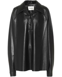 Nanushka Faux Leather Shirt - Black