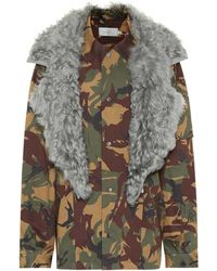 Preen By Thornton Bregazzi Dree Fur-trimmed Camouflage Jacket