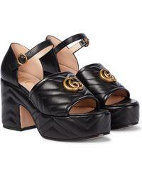Gucci Matelassé Leather Platform Sandals - Black