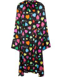 Balenciaga Archive Hearts Printed Silk Midi Dress - Black