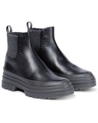 Max Mara Atwoop Leather Ankle Boots - Black