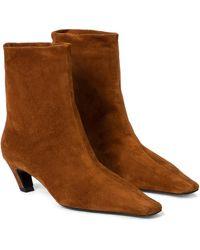 Khaite Arizona Suede Ankle Boots - Brown
