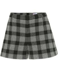 RED Valentino Checked Cotton And Wool-blend Shorts - Black