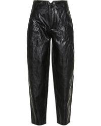 Philosophy Di Lorenzo Serafini High-rise Faux Leather Carrot Pants - Black