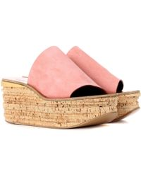 Chloé Camille Suede Platform Sandals - Pink