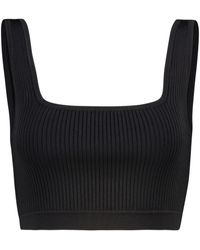Sir. The Label Agnes Ribbed-knit Crop Top - Black