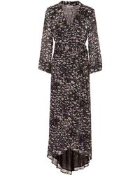 Ganni Floral Print Wrap Dress - Black