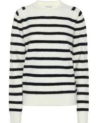Saint Laurent Gestreifter Pullover aus Wolle - Weiß