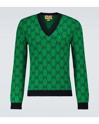 Gucci Pullover GG Multicolor mit Wollanteil - Grün