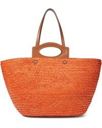 Tod's Leather-trimmed Straw Tote - Orange