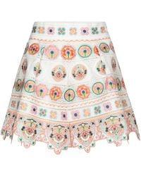 Zimmermann Brighton Embroidered Cotton Shorts - Multicolour