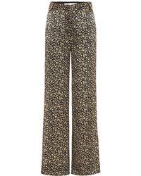 Victoria, Victoria Beckham - Pantalones de seda de corte ancho estampados - Lyst