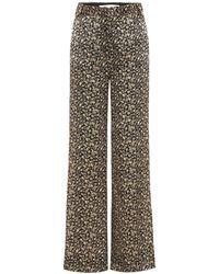 Victoria, Victoria Beckham Printed Silk Wide-leg Pants - Metallic