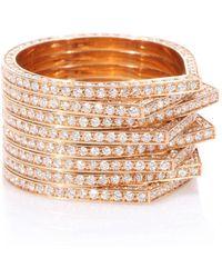 Repossi Anello Antifer in oro rosa 18kt con diamanti bianchi - Metallizzato